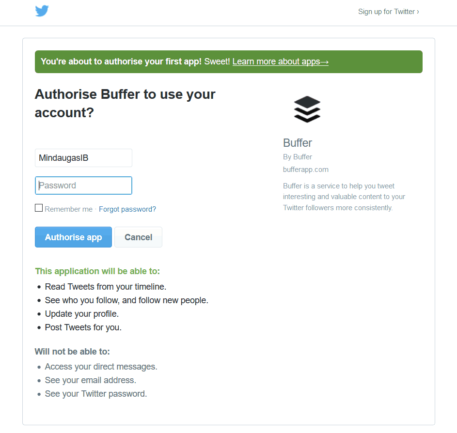 Authorize your social media to allow Buffer.
