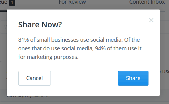 Pop-up confirming that you want to share the post now.