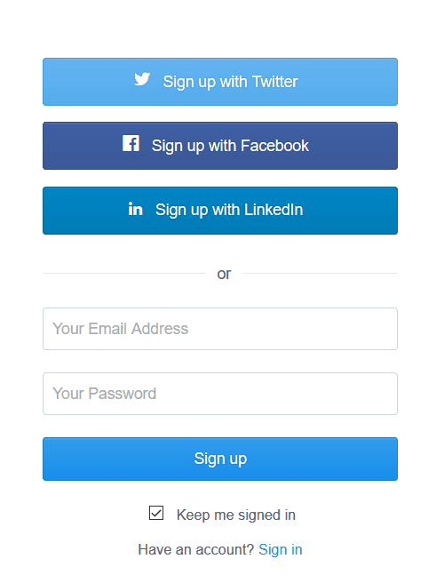 Variety of ways to log in on Buffer.