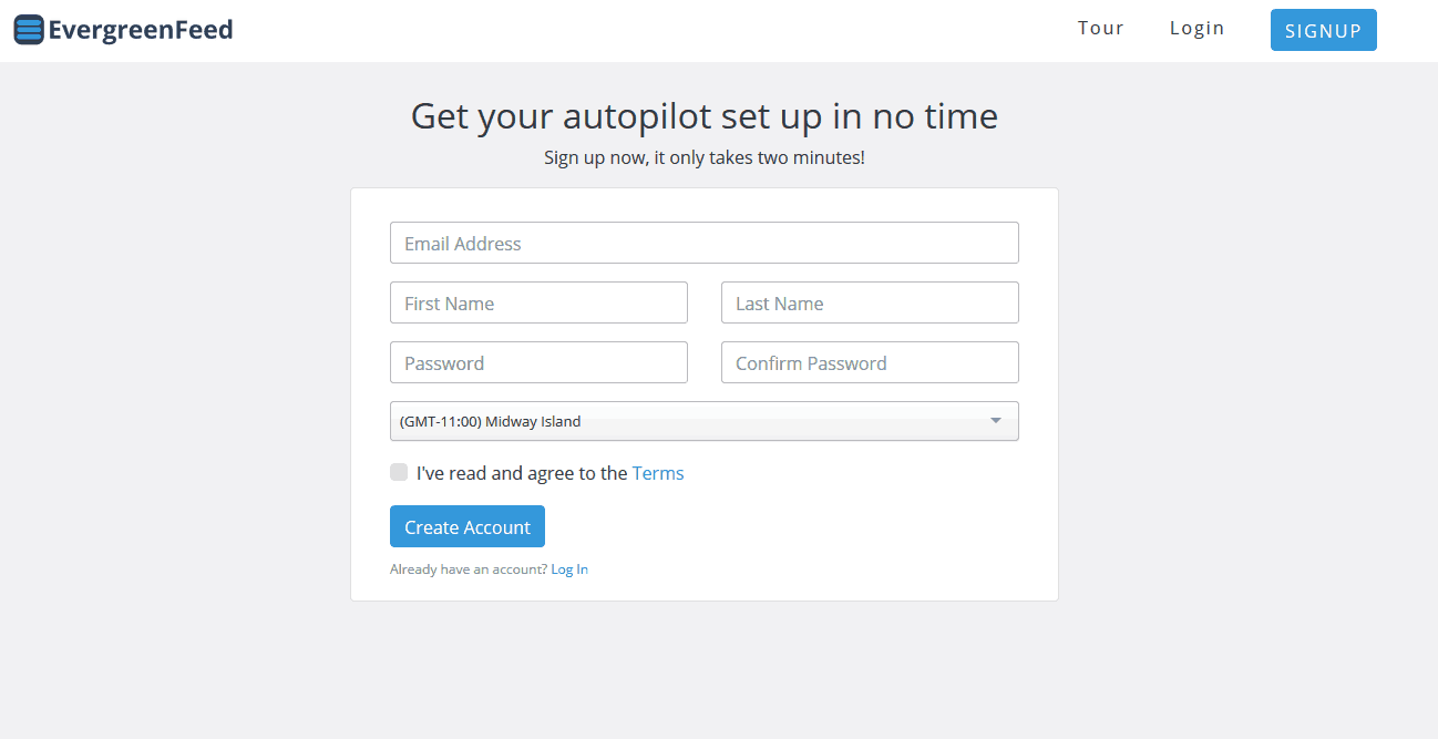 Evergreen Feed signup process is quick.