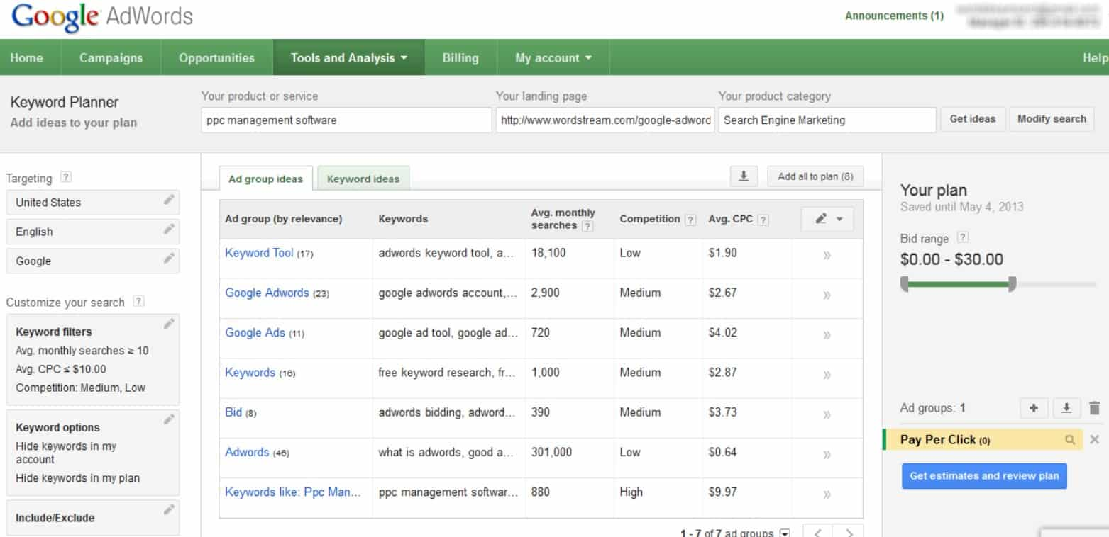 Research some relevant keywords for your content with Google Keyword Planner.