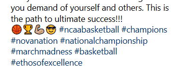 Basketball related hashtags aimed at attracting a specific sport enthusiast.