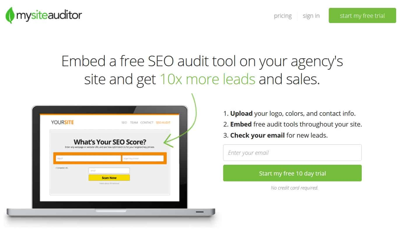 One of the great audit tools, My Site Auditor.