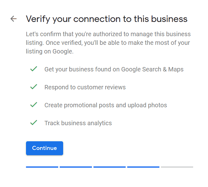 Listing business is only complete once you're verified.
