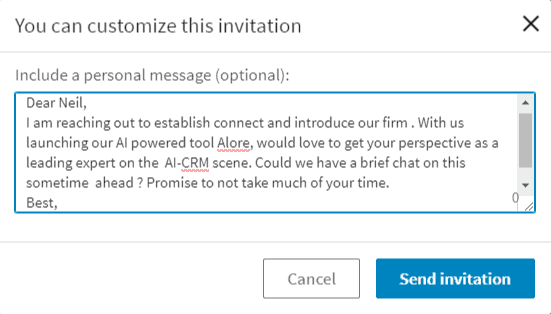 Big part of LinkedIn etiquette is a personalized and unique connection request.