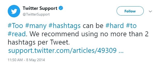 Twitter marketing mistakes include excessive use of hashtags.
